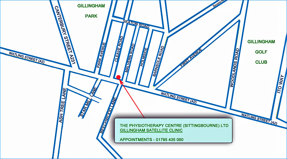 Map showing our Gillingham Clinic on Watling Street