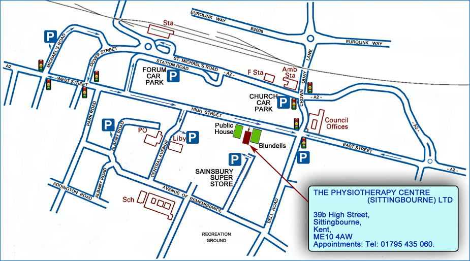 Map showing location of our Sittingbourne Clinic, off the High Street