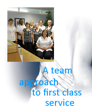 Graphic carrying key message - a team approach to first class service